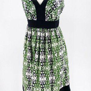 Trulli Womens A Line Dress Green White Tie Back 6